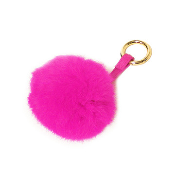 Ladies Pom Pom Gold Tip Key Chain Pink