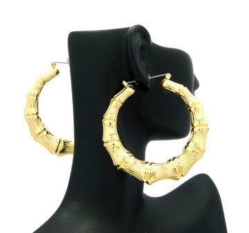 Ladies Bamboo Gold GP Orignal Lightweight Door Knocker Earrings