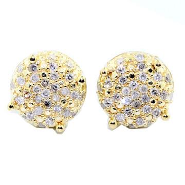 Mens Hip Hop 10K 1/4 cttw Yellow Gold Dice Cube Earrings