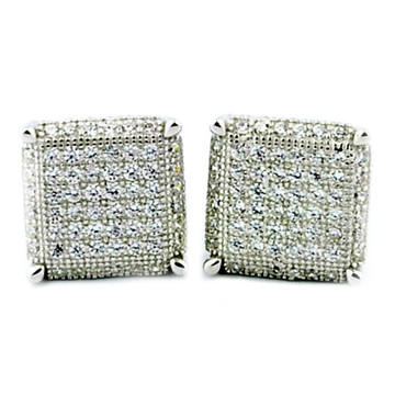 Iced Out 925 Sterling Silver Cube 8.5mm Cz Earrings