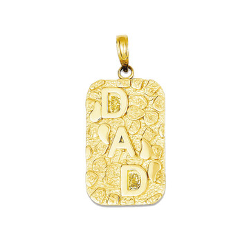 14k Yellow Gold Nugget Dad Dog Tag Pendant