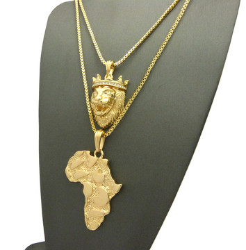 14k Gold King of Kings Crowned Africa Continent Pendant