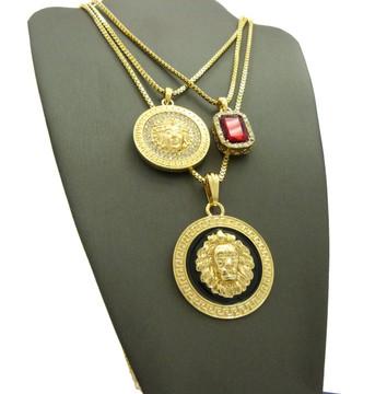 14K Gold Black Lion Of Judah Medusa Head Gemstone Pendant