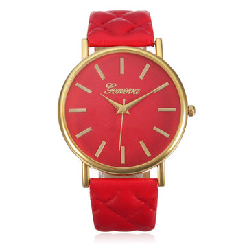 Ladies Casual Geneva Roman Leather Band Analog Quartz Watch