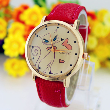 Pretty Kitten Fashion Leather Strap Watch