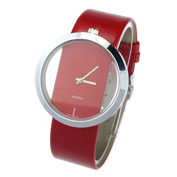 Ladies Leather Transparent Dial Hollow Wrist Watch