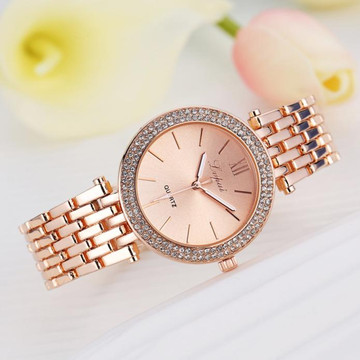 Ladies Simulated Diamond Double Row Bling Watch Rose Gold