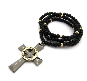 Boondock Veritas Aequites Cross Pendant Wooden Chain