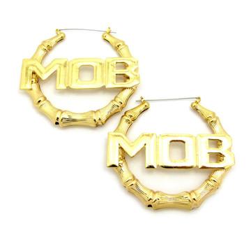 MOB Money Over Bitches Door Knocker Earrings Gold