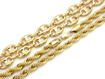 14k Gold Marina Rope Hip Hop Chain Necklace Combo Set