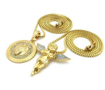 14k Gold Crushed Ice Angel Wings Medusa Snake Head Pendant