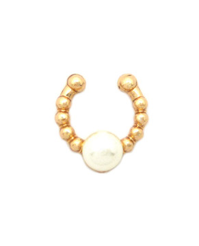 Faux Black Pearl Gold Horseshoe Nose Ring