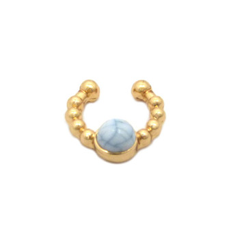 Faux White Pearl Gold Horseshoe Nose Ring
