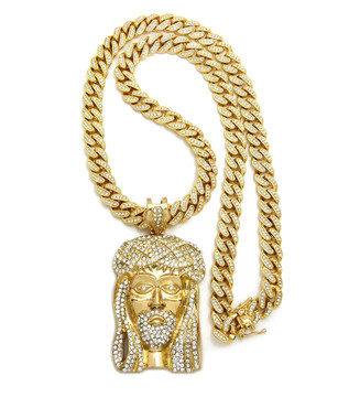 14k Gold All Ice Classic Jesus Piece Iced Out Cuban Link Pendant
