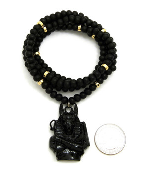 Egyptian God Anpu Anubis Black Gold Accent Beaded Chain