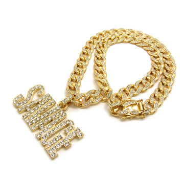 14k Gold Simulated Diamond Hip Hop Savage Cuban Link Pendant