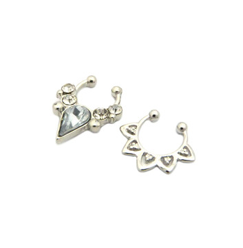 Tear Drop Iced Out Double Nose Ring 2