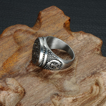 Mens Iced Out Black Simulated Diamond Round Titanium Stainless Steel Ring