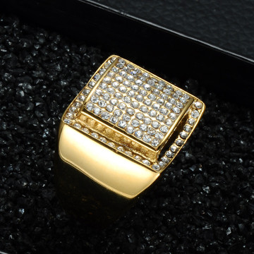 Men's Gold Bling Simulated Diamond Iced Out Stainless Steel Ring For Men Hip Hop Jewelry Size 8-13