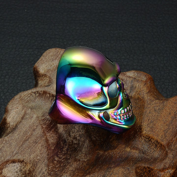 Hip Hop Funk Multicolor Titanium Stainless Steel Skeleton Skull Rings