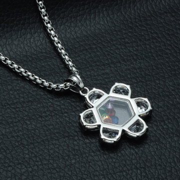 Hip Hop AAA Simulated Diamond Silver Color Natural Stone Jewish Star of David Pendant