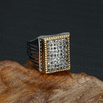 Men Black Micro Pave 14k Gold Silver Titanium Stainless Steel Vintage Iced Out Ring