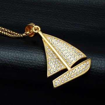 HIP Hop Bling Iced Out Lab Diamond 14k Gold Titanium Yacht Sailboat Pendant