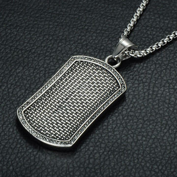 Mens Hounds Tooth Square Silver Stainless Steel Lab Diamond Dog Tag Pendant Necklace