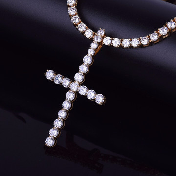 Mens 5mm Iced Out AAA Lab Diamond Classic Cross Tennis Chain Necklace Pendant