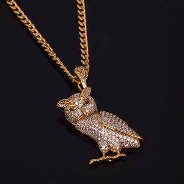 Iced Out Lab Diamond Hip Hop Bling Owl Pendant