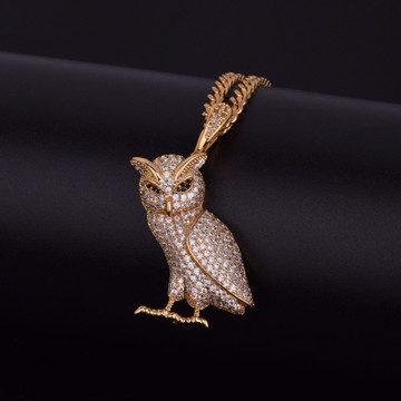 Iced Out Lab Diamond Hip Hop Bling Owl Pendant Chain Necklace