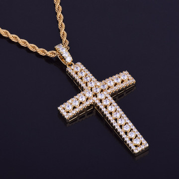 Mens 14k Gold Ultra Ice Silver Hip Hop Lab Diamond Cross Pendant Chain Necklace