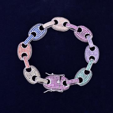 12MM Mixed Color Iced Out Marine G Link Hip Hop Bling Bracelet