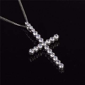 Mens 14k Gold Silver AAA Lab Diamond Bling Bling All Ice Cross Chain Pendant