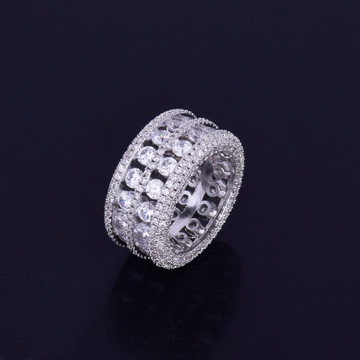 Mens 7 Row Solitaire Ultra Baller 14k Gold Silver Hip Hop Bling AAA Stone Iced Out Ring