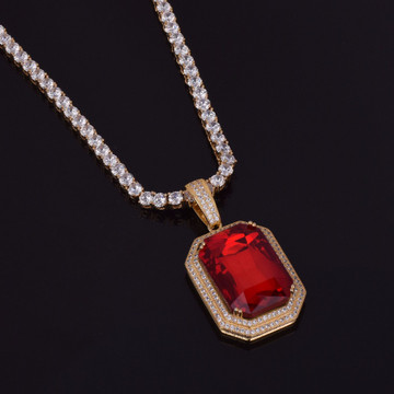 Iced Out Lab Diamond Gemstone Hip Hop Pendant With 4mm Tennis Chain Necklace