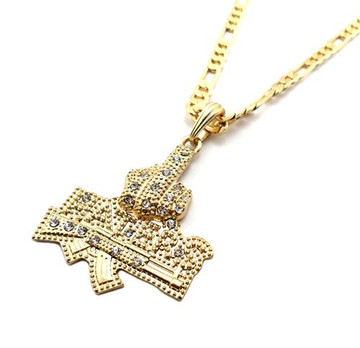 Iced Out Middle Finger To The Haters Pendant Gold