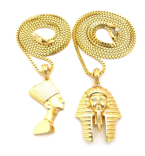 Egyptian king akhenaten queen nefertiti pendant chain mozeypictures
