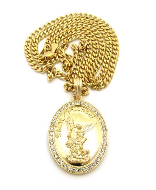 Oval diamond cz saint michael pendant cuban chain bling jewelz oval diamond cz saint michael pendant cuban chain aloadofball Choice Image