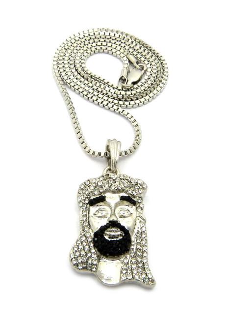 Diamond cz beard jesus pendant w chain silver black aloadofball Image collections