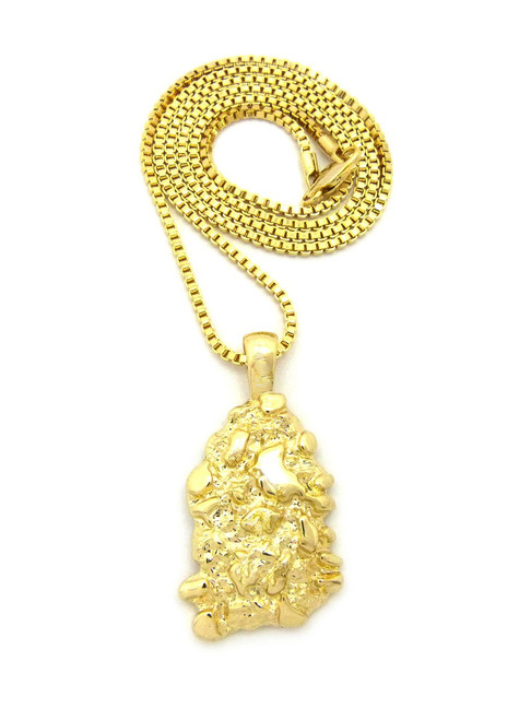 Hip hop gold nugget pendant box chain 14k gold aloadofball Image collections