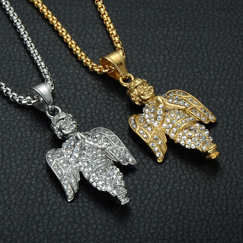 Hip hop pendants bling bling pendants iced out pendants 14k angel prayer silver stainless steel iced out simulated diamond chain pendant aloadofball Image collections