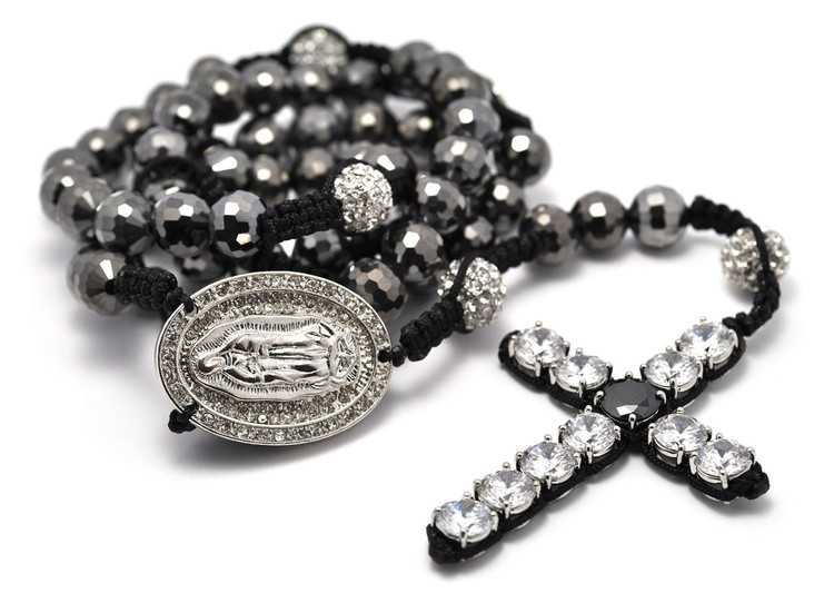 Men's Hip Hop Clear Rosary Beads Disco Ball Cross Chain Necklace