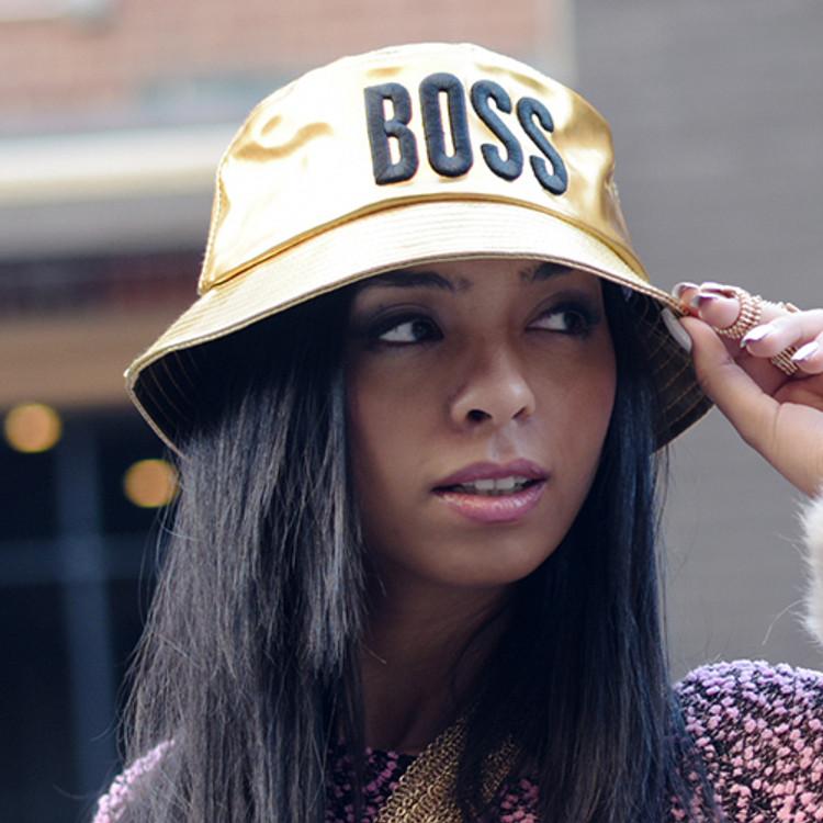 Ladies Celebrity Style Fishermans Bucket Style BOSS Hat Gold