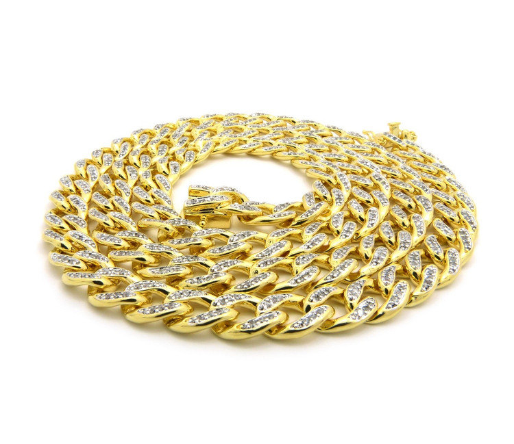 Mens Iced Out Top Quality Hand Set Stone Cuban Link Chain 30""