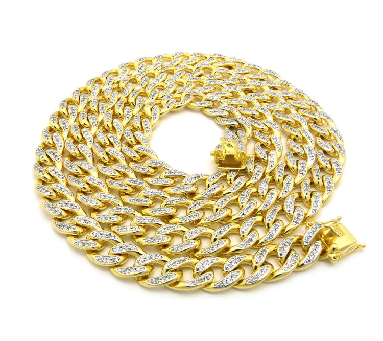 Mens Iced Out Top Quality Hand Set Stone Cuban Link Chain 36""