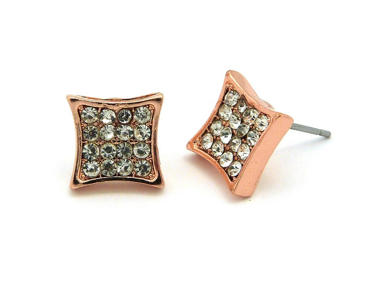 Hip Hop Rose Gold Simulated Diamond Iced Out Kite Earrings