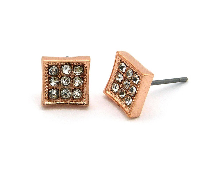 Hip Hop 9 Cut  Simulated Diamond Stone Bling Rose Gold Earrings