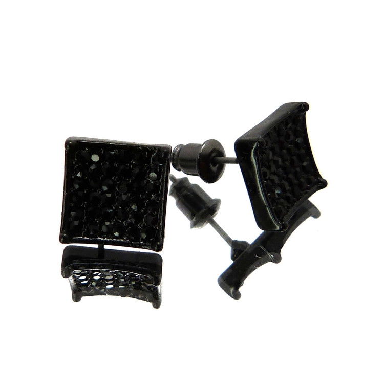 Concave Cut Cz Stone Hip Hop Bling Earrings Black