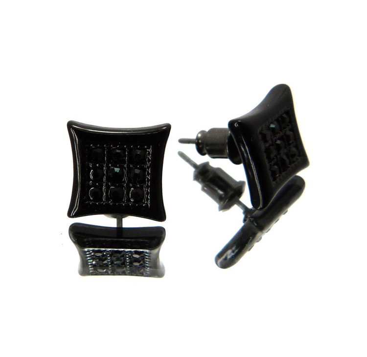 Hip Hop Kite Nine Cut Cz Stone Bling Earrings Black